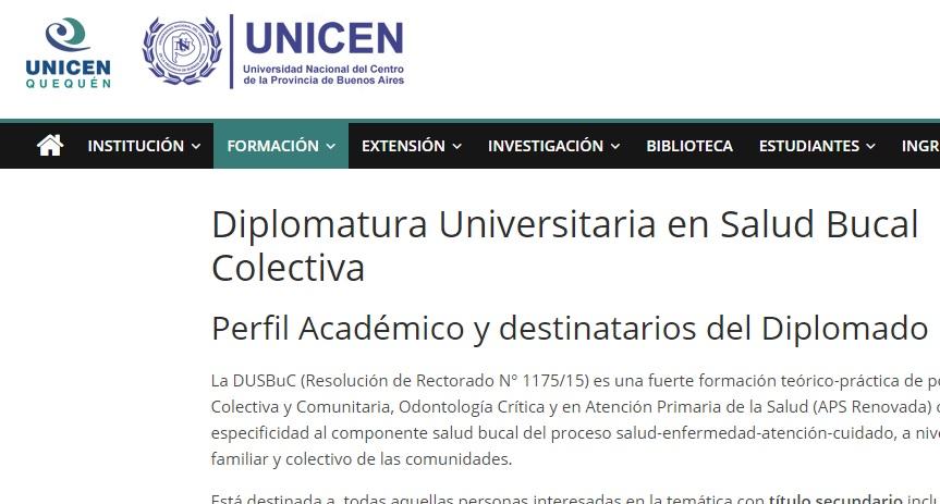 Diplomatura Universitaria en Salud Bucal Colectiva en la Universidad Nacional del Centro