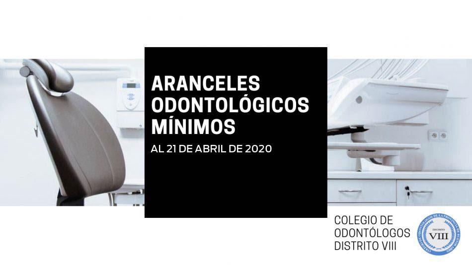 Aranceles Odontológicos Mínimos al 21 de de abril de 2020