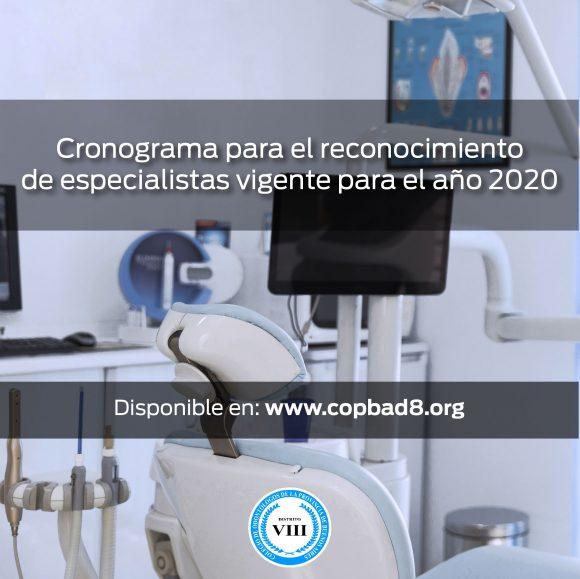Cronograma para el reconocimiento de especialistas vigente para el año 2020