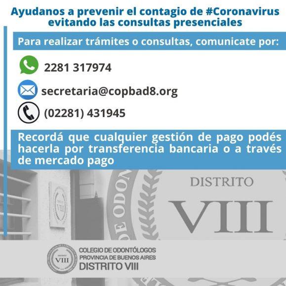 Ayudanos a prevenir el contagio de Coronavirus evitando las consultas presenciales