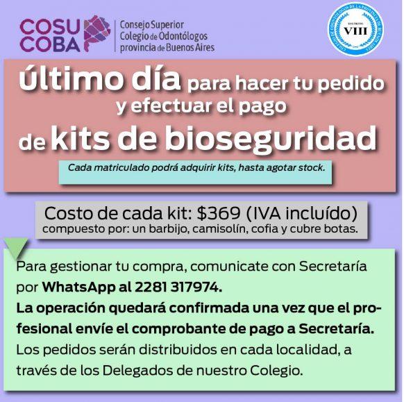 Último día para pedir tus kits de bioseguridad