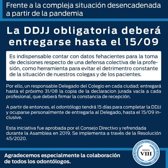 Los matriculados deben entregar la DDJJ obligatoria antes del 15/09