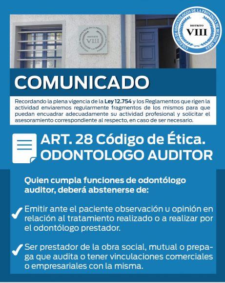 Comunicado Colegio de Odontólogos – Distrito VIII