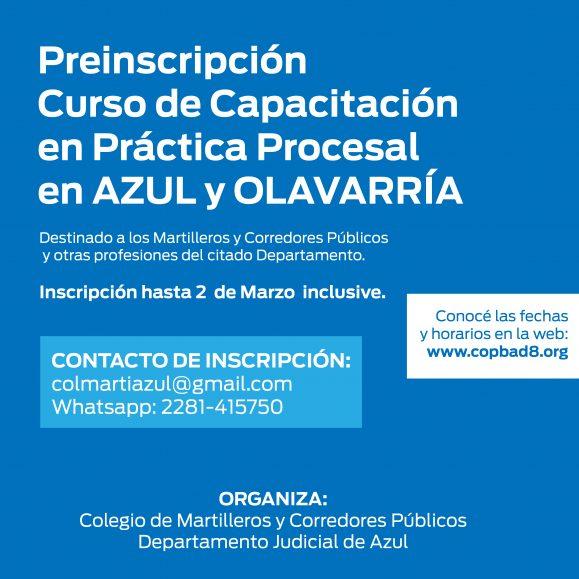 Preinscripción para el Curso de Capacitación en Práctica Procesal en Azul y Olavarría