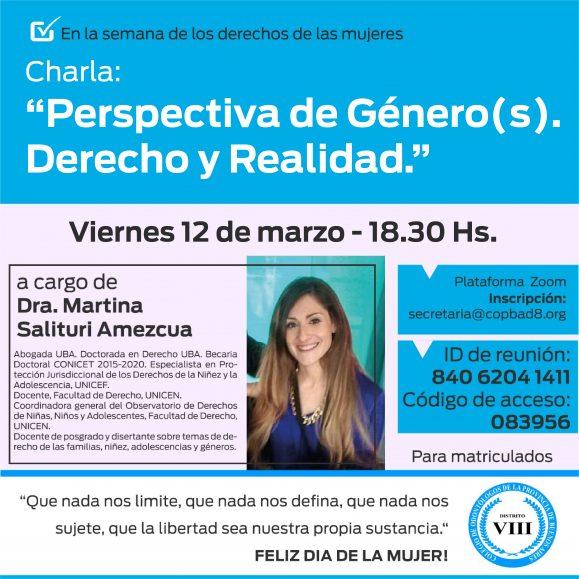 """Charla """"Perspectiva de género(s). Derecho y realidad."""" a cargo de la Dra. Martina Salituri Amezcua."""