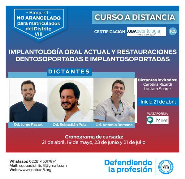 Curso de implantología oral actual y restauraciones dentosoportadas e implantosoportadas