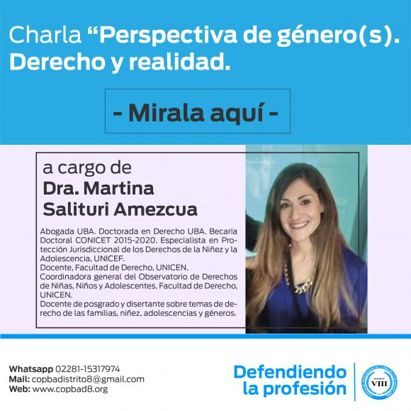 """Mirá la Charla """"Perspectiva de género(s). Derecho y realidad."""" a cargo de la Dra. Martina Salituri Amezcua."""