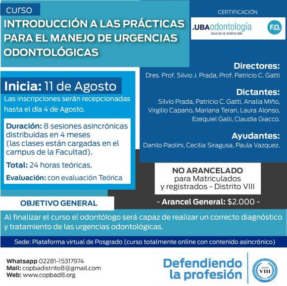 """Curso: """"Introducción a las prácticas para el manejo de urgencias odontológicas"""