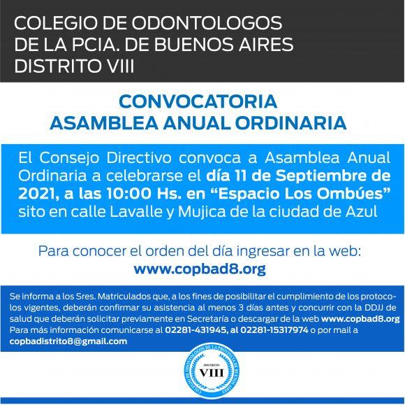 CONVOCATORIA ASAMBLEA ANUAL ORDINARIA