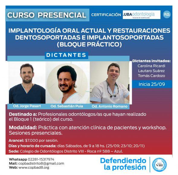 Curso: Implantología Oral Actual y Restauraciones Dentosoportadas e Implantosoportadas (BLOQUE PRACTICO)