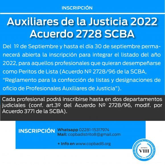 Inscripción Auxiliares de la Justicia 2022 – Acuerdo 2728 SCBA