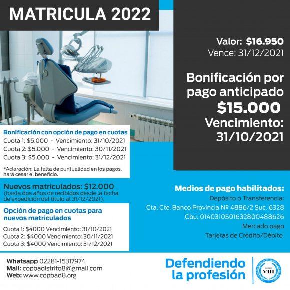 Cuota de Colegiación 2022