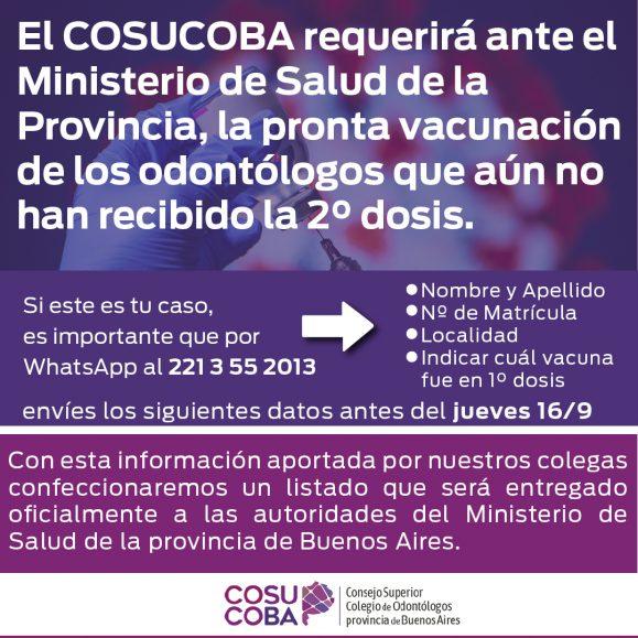 El COSUCOBA requerirá ante el Ministerio de Salud de la provincia de Buenos Aires, la pronta vacunación de los odontólogos que aún no han recibido la 2° dosis