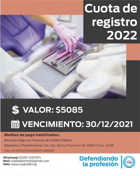 Cuota de Registro 2022